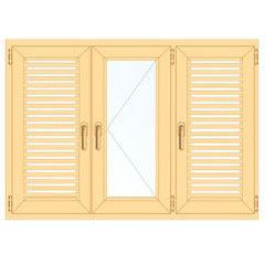Деревянное окно Сосна слуховое, в/с, Модель 2