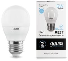 Лампа Лампа Gauss 53236, E27, G45, 6Вт