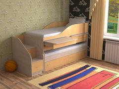 Двухъярусная кровать СлавМебель Дуэт-8 (дуб молочный/оранжевый)