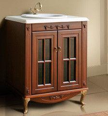 Мебель для ванной комнаты Атолл Тумба Полини 65 scuro (столешница из камня)
