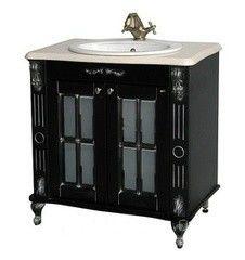 Мебель для ванной комнаты Атолл Тумба Александрия 85 (черная, столешница из камня)