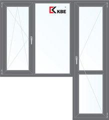 Окно ПВХ Окно ПВХ KBE 1860*2160 2К-СП, 5К-П, П/О+Г+П ламинированное (серый)