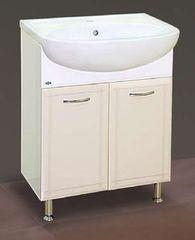 Мебель для ванной комнаты MISTY Тумба с раковиной Уют 60 бежевая (прямая)