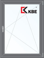 Окно ПВХ KBE 800*1100 2К-СП, 5К-П, П/О ламинированное (серый)