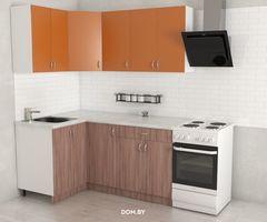 Кухня Кухня Хоум лайн Агата 1.2x2.5 (Ясень шимо темный/оранжевый)