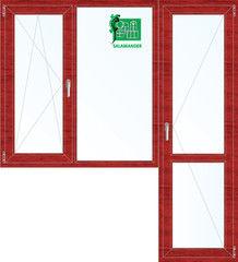 Окно ПВХ Окно ПВХ Salamander 1860*2160 2К-СП, 5К-П, П/О+Г+П ламинированное (вишня)
