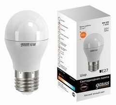Лампа Лампа Gauss Elementary 6W E27 2700K (LD53216)