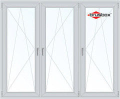 Окно ПВХ Окно ПВХ Brusbox 2060*1420 1К-СП, 3К-П, П/О+П/О+П/О