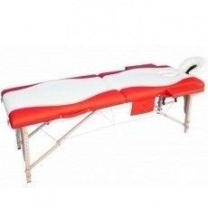Мебель для салонов красоты  Массажный стол AAF 2-х сегментный складной (дерево), цвет бело-красный