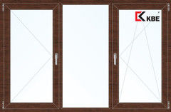 Окно ПВХ Окно ПВХ KBE 2060*1420 2К-СП, 5К-П, П+Г+П/О ламинированное (темное дерево)