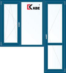 Окно ПВХ KBE Окно ПВХ 1860*2160 2К-СП, 5К-П, П/О+Г+П ламинированное (темно-синий)