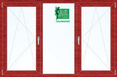 Окно ПВХ Окно ПВХ Salamander 2060*1420 2К-СП, 5К-П, П/О+Г+П/О ламинированное (вишня)