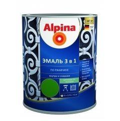 Эмаль Эмаль Alpina АУ по ржавчине 3 в 1 RAL9005 (0,75 л /0,80 кг)