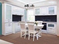 Кухня Кухня на заказ ЗОВ Фасад Глазго белый структура, патина серебро
