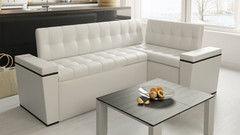 Кухонный уголок, диван ТриЯ угловой со спальным местом «Брайтон» (кожзам белый)