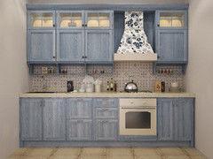 Кухня Кухня на заказ Драўляная майстэрня Голубая из дуба массива