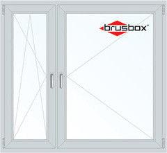 Окно ПВХ Окно ПВХ Brusbox 1460*1400 1К-СП, 3К-П, П/О+П