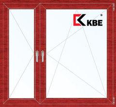 Окно ПВХ Окно ПВХ KBE 1460*1400 2К-СП, 5К-П, П+П/О ламинированное (вишня)