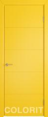 Межкомнатная дверь Межкомнатная дверь Colorit К4 ДГ (желтая эмаль)