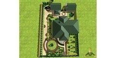 Ландшафтный дизайн Мистер Плиткин Дизайн с центральной композицией