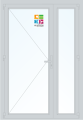 Алюминиевая дверь Alutech ALT C48 1300x2100 2К-СП, 1К-П Одностворчатая с доп окном