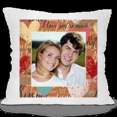 Декоративная подушка Карандаш Коричневая с сердечками 02575