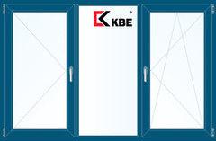 Окно ПВХ Окно ПВХ KBE 2060*1420 2К-СП, 5К-П, П+Г+П/О ламинированное (темно-синий)