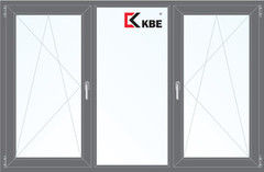 Окно ПВХ KBE 2060*1420 2К-СП, 5К-П, П/О+Г+П/О ламинированное (серый)