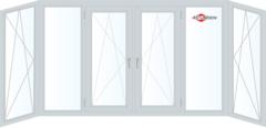 Балконная рама Балконная рама Brusbox 4400*1450 1К-СП, 4К-П, П/О+Г+П/О+П/О+Г+П/О (П-образная)