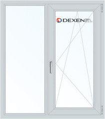 Окно ПВХ Окно ПВХ Dexen 1100*1310 1К-СП, 4К-П, Г+П/О