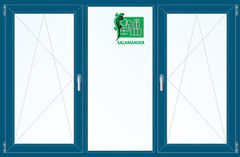 Окно ПВХ Окно ПВХ Salamander 2060*1420 2К-СП, 5К-П, П/О+Г+П/О ламинированное (темно-синий)