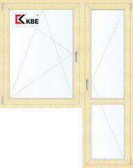 Окно ПВХ KBE 1440*2160 2К-СП, 5К-П, П/О+П ламинированное (светлое дерево)