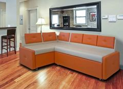 Кухонный уголок, диван  Кухонный диван Оскар (оранжевый-крем)