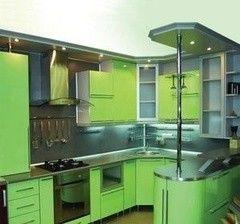Кухня Кухня на заказ ЗОВ П-образная салатовая К-19