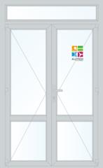 Алюминиевая дверь Alutech ALT W62 1400x2400 2К-СП, 3К-П Двухстворчатая с импостом и доп окном