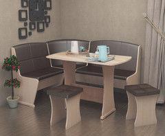 Кухонный уголок, диван Феникс Тип 2 (дуб молочный + кожзам шоколад)