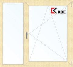Окно ПВХ Окно ПВХ KBE 1460*1400 2К-СП, 5К-П, Г+П/О ламинированное (светлое дерево)