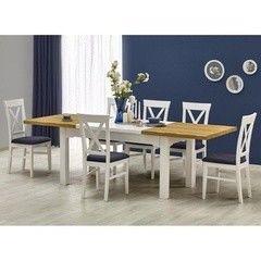 Обеденный стол Обеденный стол Halmar Leonardo (белый/ дуб медовый)