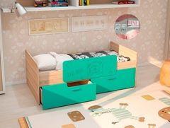 Детская кровать Детская кровать Интерьер-Центр Умка К-001 (дуб сонома/бирюза глянец)
