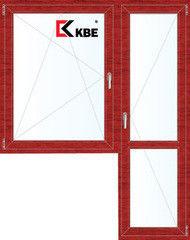 Окно ПВХ KBE 1440*2160 2К-СП, 5К-П, П/О+П ламинированное (вишня)