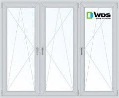 Окно ПВХ Окно ПВХ WDS 2060*1420 1К-СП, 3К-П, П/О+П/О+П/О