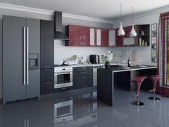 Кухня Кухня Vivat Валерия-М-05 (Бордовый глянец/Черный металлик)