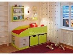 Детская кровать Легенда 8 с полками (венге светлый+лайм)