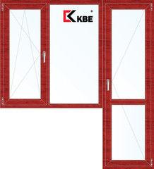 Окно ПВХ KBE 1860*2160 2К-СП, 5К-П, П/О+Г+П ламинированное (вишня)