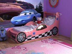 Детская кровать Детская кровать СлавМебель Машинка 160 см (розовый)