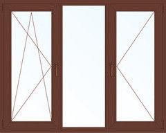 Деревянное окно Меранти 2060*1420, 1с, П/О+Г+П
