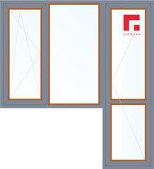 Дерево-алюминиевое окно Gutmann Дуб 1860*2160, 1с, П/О+Г+П