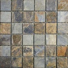 Натуральный камень Натуральный камень АЛЬТЕРфасад Мозаика из сланца Multicolor 6х6 чипов