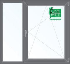 Окно ПВХ Окно ПВХ Salamander 1460*1400 2К-СП, 5К-П, Г+П/О ламинированное (серый)
