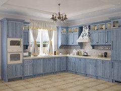 Кухня Кухня Драўляная майстэрня из массива дуба, голубое масло